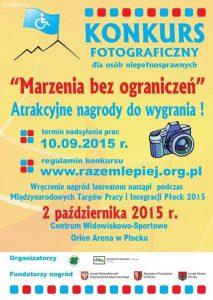 """plakat konkursu fotograficznego """"Marzenia bez ograniczeń"""""""