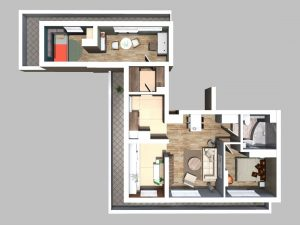 Mieszkanie nr 30 - 69,84 m2, 3 pokoje, oddzielna kuchnia, taras i balkon wokół całego mieszkania, 5. piętro