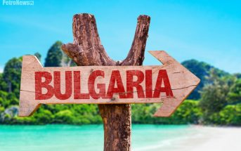 Bulgaria wooden sign with beach background