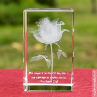 Prezent walentynkowy Róża 3D Kwiat Miłości z Twoją dedykacją